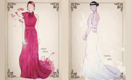 oscar dresses on paper