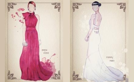 oscar dresses on paper